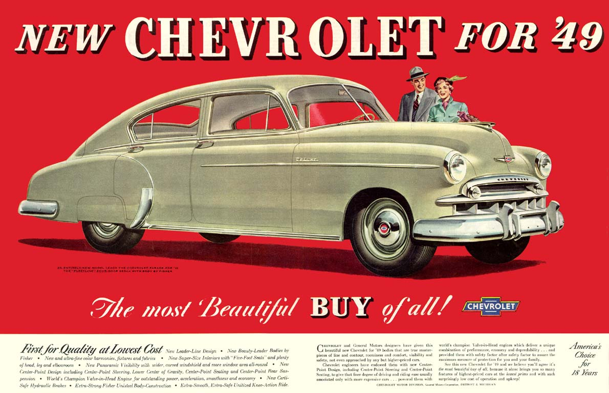 1950 Chevy Sedan Delivery Save Our Oceans 1949 Chevrolet Ad 01